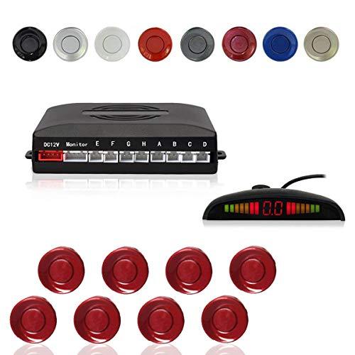 CoCar Auto Rückfahrwarner Einparkhilfe 8 Sensoren Einparkassistent Einparksystem PDC + LED Anzeigen + Akustische Warnung - Tiefrot