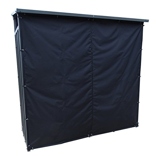 Wetterschutz Frontwand zu Kaminholzunterstand XL 200x70x203cm PVC Schwarz