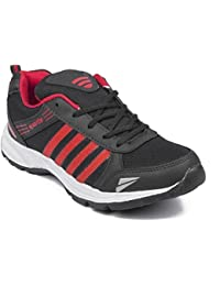 Arawali Men's Black With Red Strip Sports/Running Shoes.