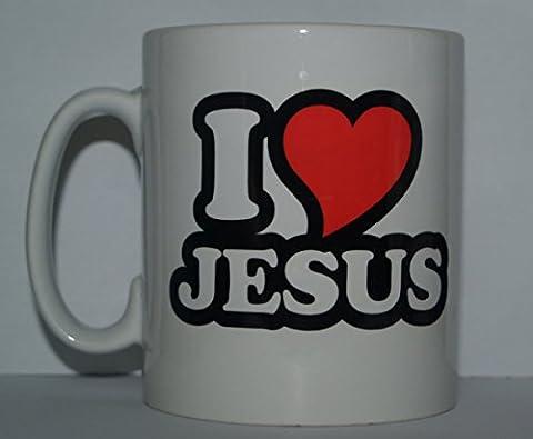 I Love/Coeur fantaisie Jésus RELIGIEUX Imprimé thé/tasse à café–Cadeau idéal/Cadeau