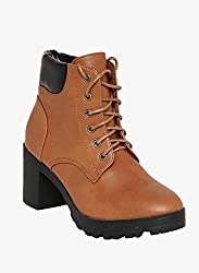 Flat n heels Womens Tan Lace Up Boots