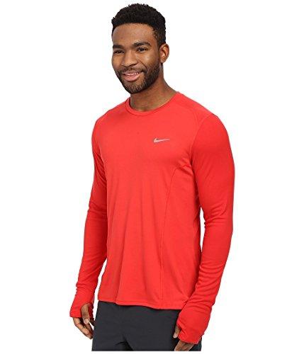 Nike Df Miler Ls, Maglia da Corsa Uomo Rosso/Argentato