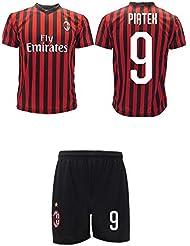 Completo Piatek Milan Ufficiale 2019 2020 AC Adulto Bambino Krzysztof Numero 9 Maglia + Pantaloncini Ufficiali (8 Anni)