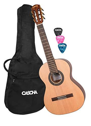 CASCHA 3/4 Konzertgitarre, inklusive Gigbag/Tasche, klassische Kindergitarre ab 8 Jahren, Akustik Gitarre für Anfänger, Classic Guitar, Nylonsaiten, inklusive 3 Plektren