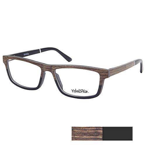KobelFein Brillengestelle Holz-Brille Herren Damen inkl. Brillenetui Bambus (Braun/schwarz)