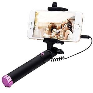 seguro selfie stick extendable smart selfie stick with button on handle connects via jack. Black Bedroom Furniture Sets. Home Design Ideas