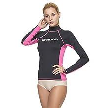 Cressi Women's Rash Guard Lady Long Sleeve - UV Sun Protection (UPF) 50+, Black/Pink, Medium/Size 3