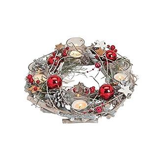 My-Weddingshop-Advents-KranzWeihnachts-Gesteck-in-rot-SilberDeko-KranzTeelicht-Halter-Weihnachten-Advent-WinterWeihnachts-DekoWohungs-Dekoration