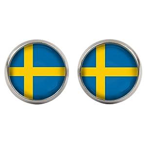 Ohrstecker – Cabochons – Schweden Flagge – WM 2018 – versilberte Fassung 14mm – Handgemacht