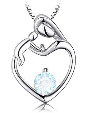 JewelryPalace Herz-Mutter Kind 0.7ct Natürlich Aquamarin Diamant Akzente Halsketten Anhänger 925 Sterling Silber...