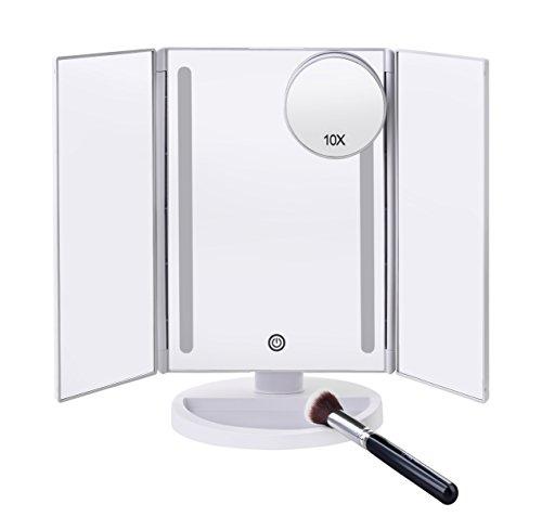 MayTree Kosmetikspiegel LED rechteckig Weiss mit Schminkpinsel und 10-Fach Vergrößerungsspiegel...
