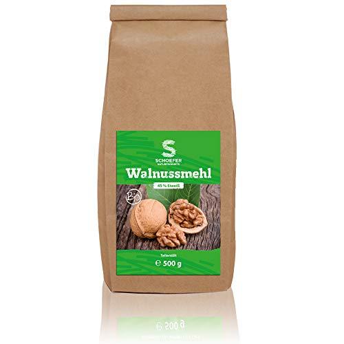Bio Walnuss-Mehl teilentölt, glutenfrei, vegan, gemahlene Walnüsse als Mehl-Alternative , 500 g
