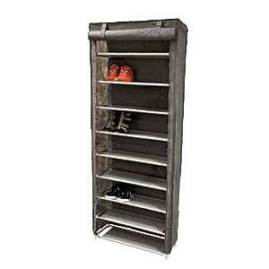 : Relaxdays armoire à chaussures Placard pour chaussures armoire pliante placard en tissu avec 9 étagères pour env. 27 paires de chaussures 61 x 29 x 158 cm