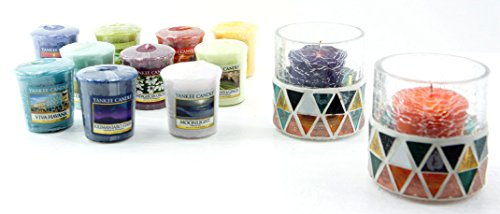 2 x Official Yankee Candle Corsica Crackle Mosaic Holders Gift Set Includes 12 x Assorted Votive Sampler Candles
