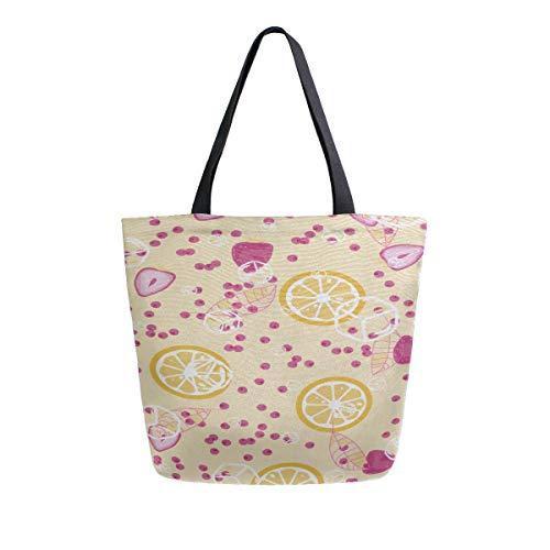 Erdbeer Zitrone Obst tragbare große doppelseitige Casual Canvas Tragetaschen Handtasche Schulter wiederverwendbare Einkaufstaschen Seesack Geldbörse für Frauen Männer Lebensmittelgeschäft Reisen