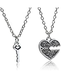 Happy GiftMart Only The Key Holder Can Unlock My Heart Steel Antique Silver Couple Pendant Necklace Set For Men...
