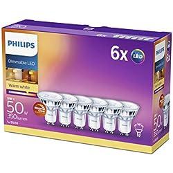Philips Ampoule LED Spot GU10 50W Pack de 6 chaud