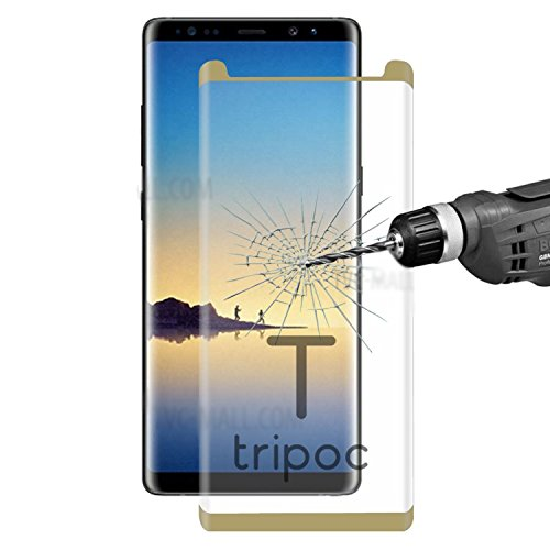Samsung Galaxy Note 8 Golden 3d with full curved edge premium series with high quality hot bending processed glass with pixel perfect clarity and cutout for proximity sensor–Tempered Glass Screen Protector FOR Samsung Galaxy Note 8 [** Perfect Fit ]