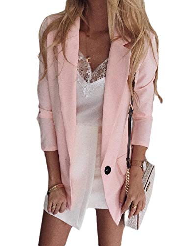 Energy Womens Fitted Long-Sleeve OL One Button Turn Down Collar Blazer Jacket Pink 2XL Pleather Varsity Jacket