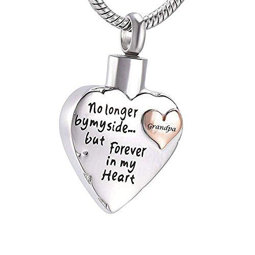 "Collar con colgante de urna conmemorativa para cenizas humanas (abuelo), diseño con texto en inglés\""No Longer by My Side but Forever in My Heart\"""