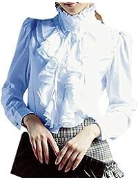 fd3f185e16a43 Mujer Slim Fit Camisa - Moda Manga Larga Cuello Alto Blusa con Volantes  Mujeres Color Sólido Primavera Otoño Camisetas Elegantes Casual…