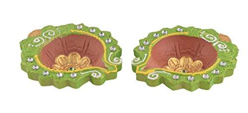 Store Indya, Diya Set von 2 handgefertigten Lehm irdenen Terrakotta Diwali Diyas Lampen für Deepwali Door Pooja Festliche Dekorationen