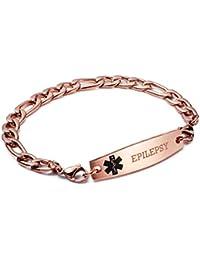linnalove-Rose Or Figaro Chaîne interchangeables Medical ID Bracelets-Free Gravure
