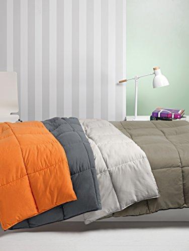 Nórdico Oslo reversible doble color - cama individual - 150x220 - naranja/gris