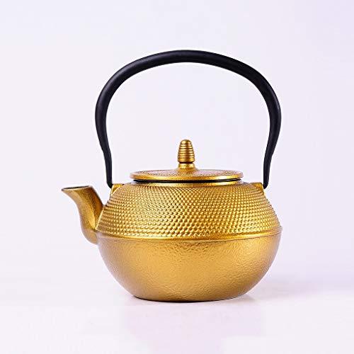 Q-HL Japanische Teekannen gusseisen Teekessel Kaff Japanische Teekessel Teekanne aus Gusseisen mit Edelstahlfilter Retro Tetsubin - 1,2 l (1200 ml) handgefertigt, japanischer Wasserkocher (Gold) Gold Teekanne