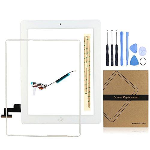 Schermo di ricambio per iPad 2, acquisto Universale (TM) frontale nero touch digitalizzatore sostituzione include tasto home + Camera + supporto adhesivetape + Medio Cornice + WiFi Antenna Cavo