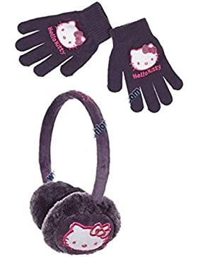 Cache orejas y guantes niño Niña Hello Kitty morado y rosa Talla única