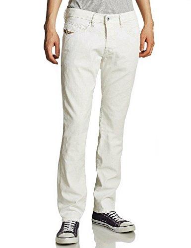 DIESEL Herren Jeans, Modell: BELTHER 0826C (Lengthen), Passform: Regular Slim-Tapered, Farbe/Wash: Creme/Weiß (off-white/coated) Men's Denim Pants (W31/L34)