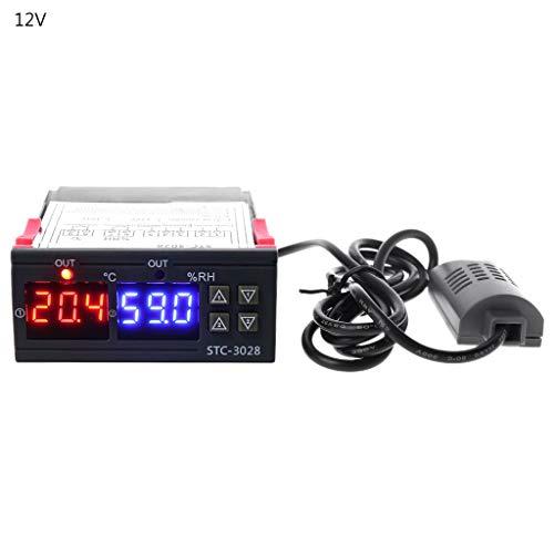BIlinli Digitaler Temperatur- und Luftfeuchtigkeitsregler Thermostat & Hygrostat Duble Display AC DC 12V 10A