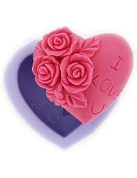 Auket Décoration de savon de silicone de coeur de Rose moule Artisanat Moules DIY (3DMold-92)