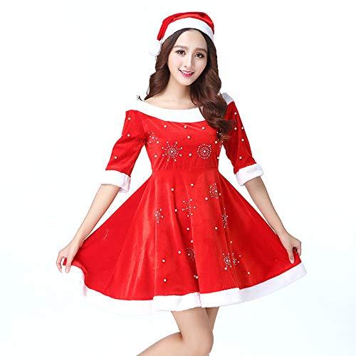 HOQTUM Damen-Weihnachtskleid-Hut-Set Weihnachtsrolle, die Maskerade-Kostüm-Rot eine Größe spielt