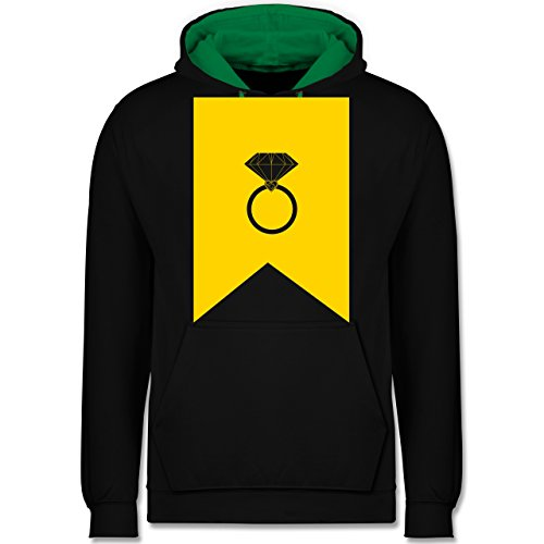 Symbole - Ring Brilliant - Kontrast Hoodie Schwarz/Grün