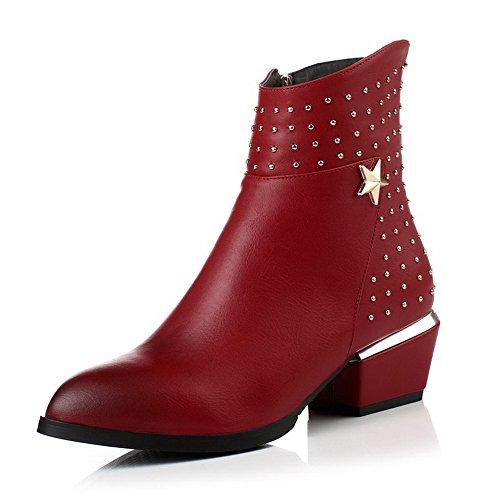 VogueZone009 Damen Mittler Absatz Niedrig-Spitze Rein Ziehen auf Stiefel, Rot, 37
