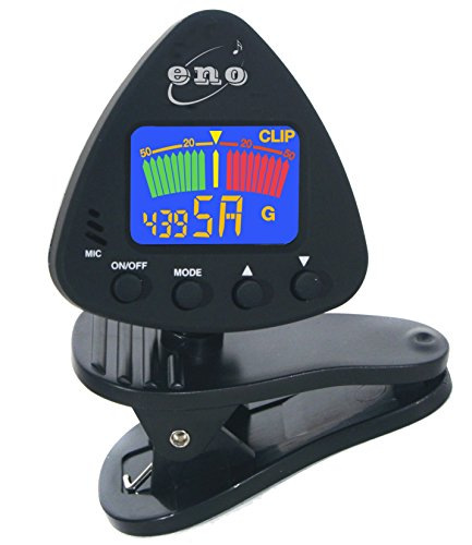 Price comparison product image RockJam Eno Clip on Guitar Tuner Clip-on Tuner for Guitar,  Ukulele,  Bass,  Violin,  Chromatic Tuning, Large Clear Colorful LCD Display,  battery included