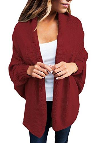 Les Femmes Les Automne - Hiver Avant Ouvert Se Tricote Cardigans Pull Vêtements Red