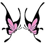 EDGEAM 2Pcs Car Styling Dekoration Schmetterling Aufkleber für Auto Seitenspiegel Autorearview (Pink)