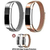 JIM'S STORE Correa para Fitbit Alta HR/Fitbit Alta, Paquete de 2 Mental Acero Inoxidable Correa Milanesa Wristband del imán del reemplazo con el Protector de la Pantalla 2PCS Astilla & Oro Rosa