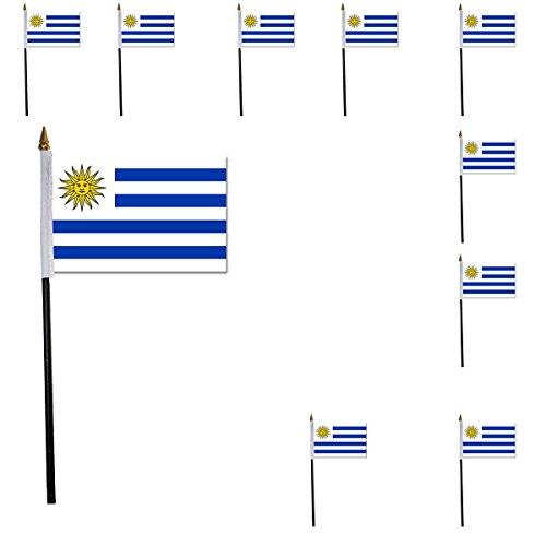 Sonia Originelli 10er SET Mini Flaggen WM Fußball 10x15 cm Party Anfeuern Fahnen Farbe Uruguay - Uruguay Wm