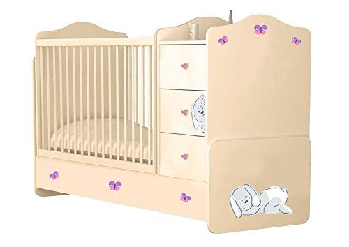 Polini Kinder Cabrio Kinderbett Bett mit Schublade Einheit, beige/rose - Cabrio Kinderbett