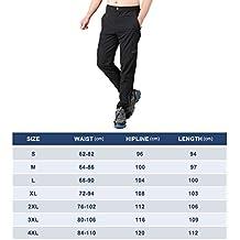 Surenow Pantalones Hombre de Trekking Senderismo Tácticos Impermeable Secado Rápido Deportivos Transpirable para Verano Otoño Negro