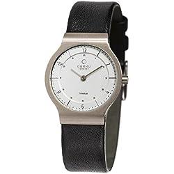 Obaku Denmark Flat Titanium Ladies Watch with Leather Strap V133LTIRB