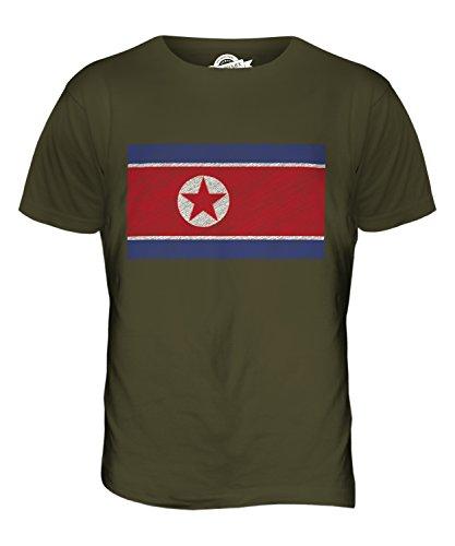 CandyMix Nord Korea Kritzelte Flagge Herren T Shirt Khaki Grün