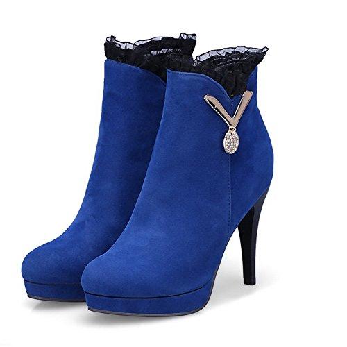 AgooLar Damen Hoher Absatz Mattglasbirne Knöchel Hohe Rein Reißverschluss Stiefel Blau