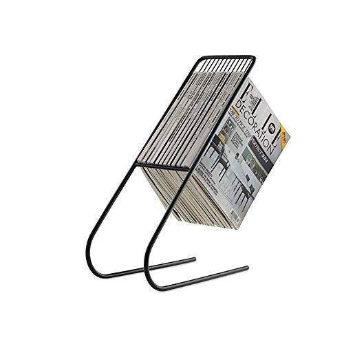 estantería Feifei Revista Marco Percha de Hierro Forjado Soporte de periódico multifunción Creativo (Negro, Dorado, Blanco) (Color : Negro)
