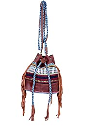 IndiWeaves Women Vintage Handmade Jacquard Leather Handle Cross Body Sling Bag - B07658QW53