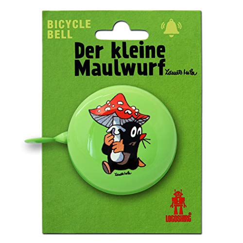 Logoshirt TV - Der Kleine Maulwurf - Pilz Retro Fahrradklingel aus massivem Stahl - grün -
